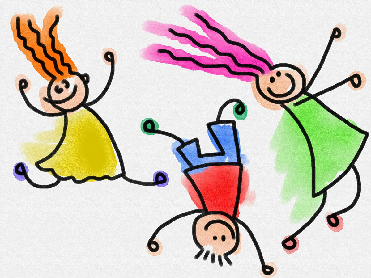 Cartoon-style illustrations of three kids dancing